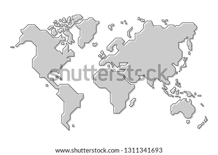 World map . Modern simple cartoon and outline style . Vector .