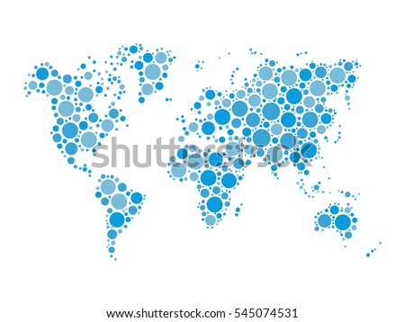 World map mosaic of blue dots in various sizes and shades on white background. Vector illustration. Abstract background theme.
