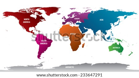 World continents map vector download free vector art stock world map of continents with bold color gumiabroncs Choice Image