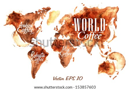 World map of drawn pour coffee with the inscription arabica, robusta, mix with splashes and blots prints cup.