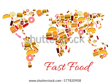 world map of fast food snacks