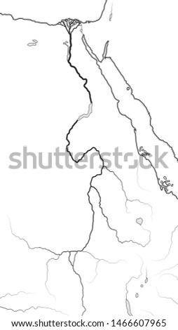 World Map of The NILE RIVER Valley & Delta:  Africa, Ancient Egypt, Lower Egypt, Upper Egypt, Nubia, Kush, Meroë, Aksum, Ethiopia, Sudan. Geographic chart with abundant affluent fertile river.
