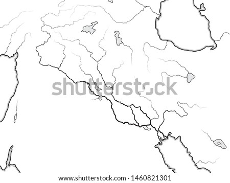 World Map of The TIGRIS & EUPHRATES Valley:  Iraq, Syria, Armenia, Kurdistan, Iran, Levant, Near East, Middle East, Persian Gulf. Geographic chart with coastline and main rivers.