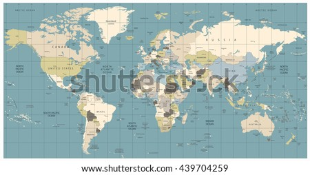 World Map old colors illustration: countries, cities, water objects. All elements are separated in editable layers clearly labeled.