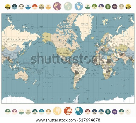 World Map old colors illustration with round flat icons and globes.America Centered World Map. All elements are separated in editable layers clearly labeled.