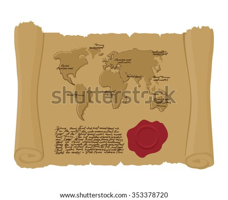world map on ancient scroll