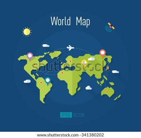 world map on blue background with marks ways pointers satellite airplane sun and clouds - vector illustration