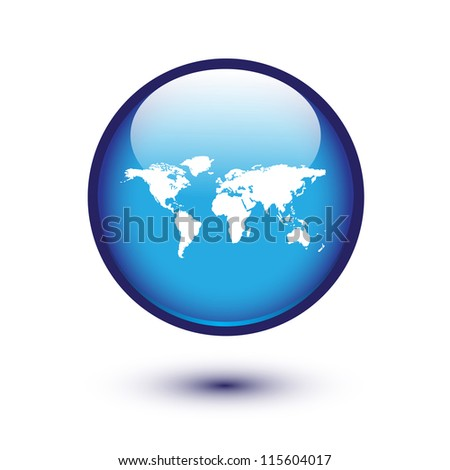 World map on blue glossy button