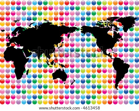 world map on color pop glossy mosaic buttons (vector) - illustration