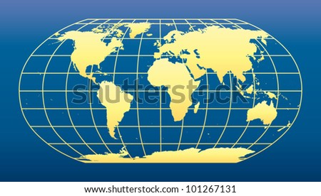 World Map on dark blue background.
