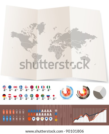 World map on old map and flags of different countries, diagrams and other signs. You can select any country by color