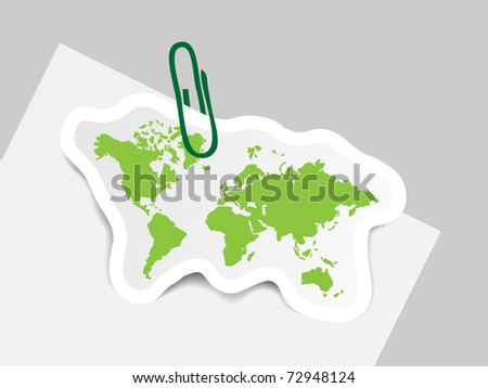 World map on paper with pin
