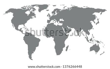 World map on white background. Vector illustration