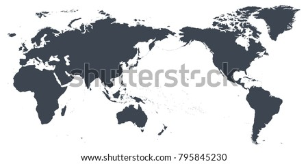 Map vector of africa world map outline contour silhouette asia in center vector gumiabroncs Choice Image