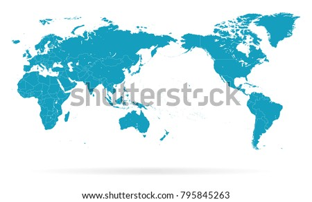World Map Outline Contour Silhouette - Asia in Center - vector #795845263