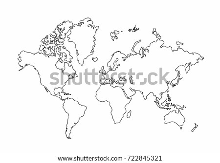 Globe continent vectors download free vector art stock graphics world map outline graphic freehand drawing on white background vector of asia europe gumiabroncs Images