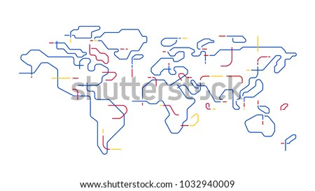 world map outline vector