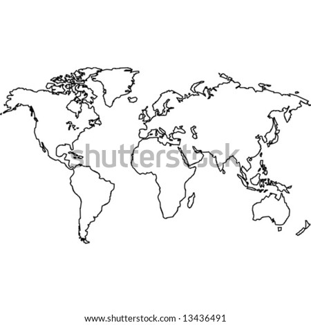 world map outline black. stock vector : World map