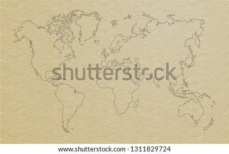 world map, paper art illustrator vector #1311829724