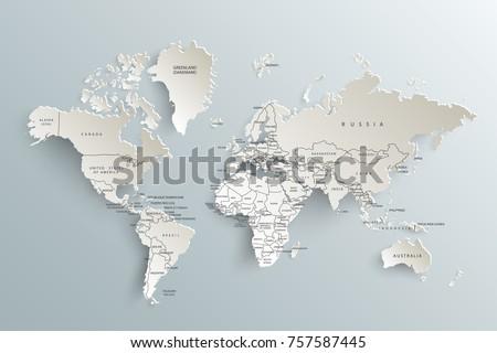 Vector de mapas de continentes del mundo descargue grficos y world map paper political map of the world on a gray background gumiabroncs Gallery