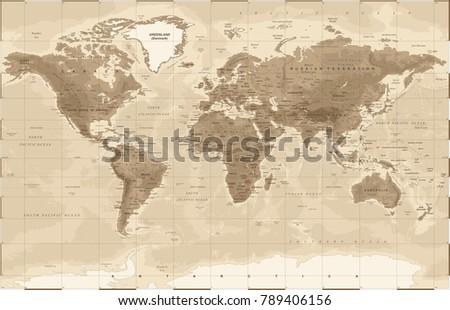 World Map Physical Vintage - vector illustration
