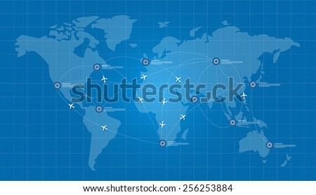 world map plane logistic in blue print network