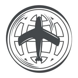 world map planet and airplane in silhouette icon vector illustration