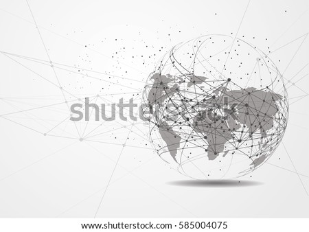 world map point  line