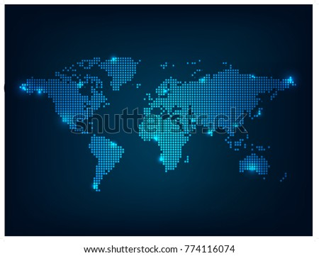 Digital technology earth world map on blue background with dots world map point scales on dark background wire frame 3d mesh polygonal network line gumiabroncs Gallery
