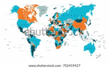 World Map Political Blue Orange Vector Illustration #702459427