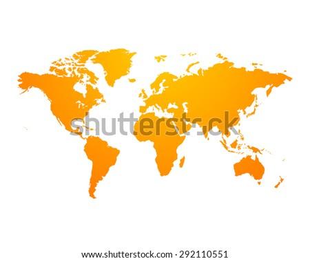 world map political orange on