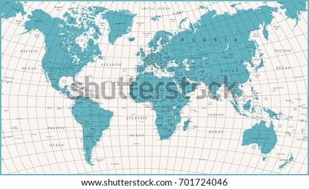 World Map Political Vintage Vector illustration