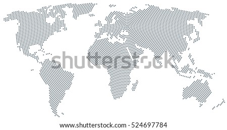 Dotted world map vector download free vector art stock graphics world map radial dot pattern gray dots going from the center outwards and form the gumiabroncs Image collections