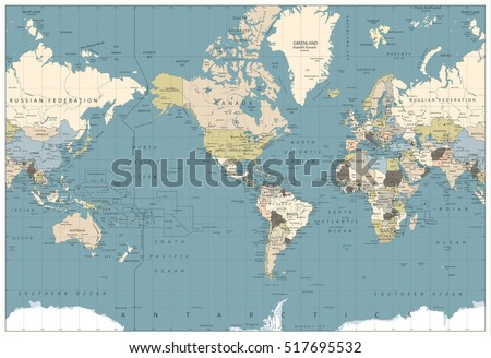 World Map retro colors illustration - America Centered World Map. All elements are separated in editable layers clearly labeled.