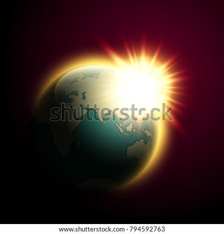 world map rising sun banner