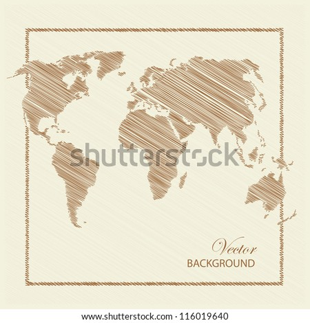 World map scratch colored brown. Vector illustration.