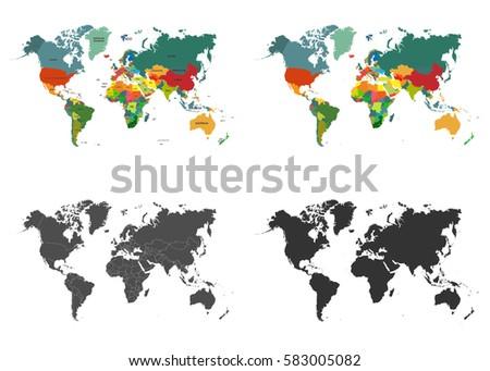 world map set isolated on white