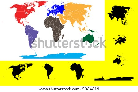 World Continents Map Vector Download Free Vector Art Stock - World map continent wise
