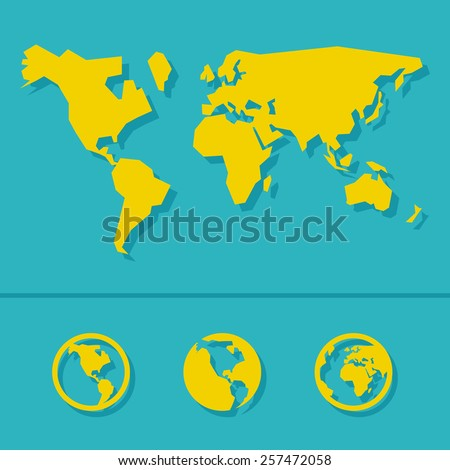world map sign and icon