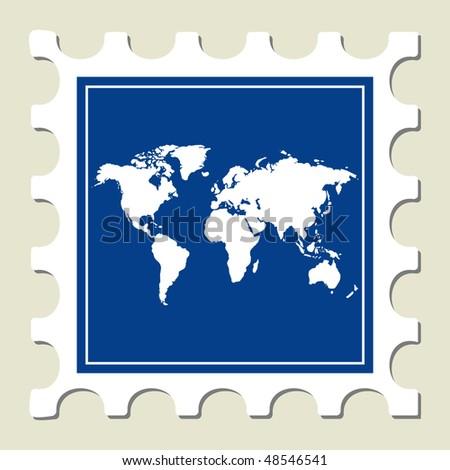 World Map Sign Stamp