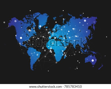 Digital world map linked by lines connections network design world map silhouette with connection grid vector illustration background network concept design gumiabroncs Choice Image