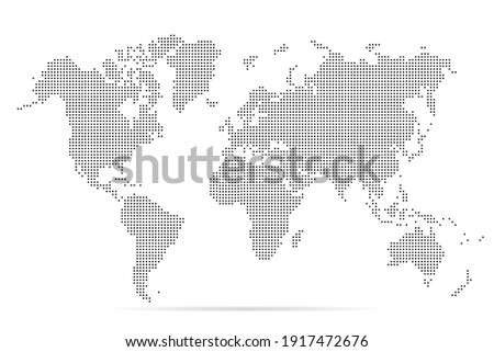 World map. Simple flat dot. Worldmap dotted global. Globe point. World maps circle. Worldwide continents isolated on white background. Silhouette pixel center. Pixels design. Halftone dots. Vector