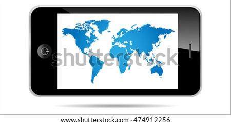 world map smartphone...