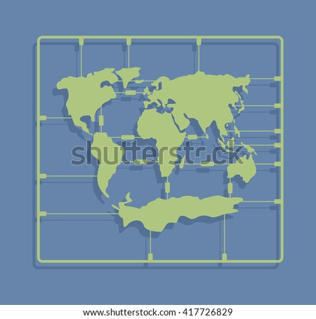 world map sprue or injection