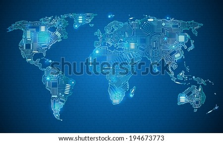 Digital earth technology style background download free vector art world map technology style digital world with electronic systems gumiabroncs Choice Image