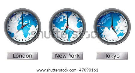 World map time zone clocks - stock vector