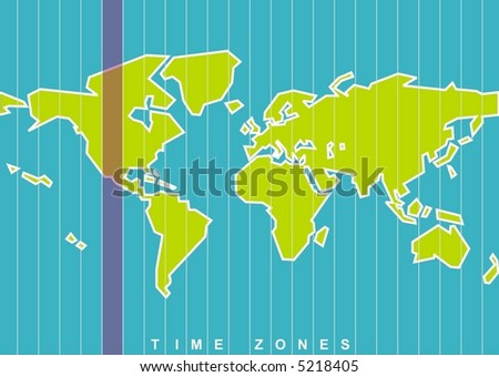 standard time zones of the world map. vector world map time