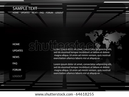 World map vector background  website template - Vector map and news background illustration