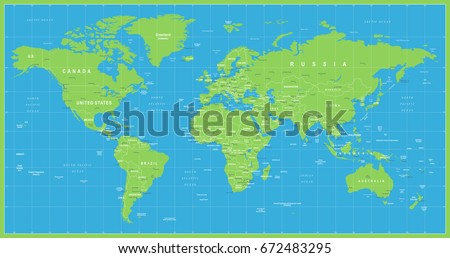 Worldmap continents free vector download free vector art stock world map vector blue green high detailed illustration of worldmap gumiabroncs Images