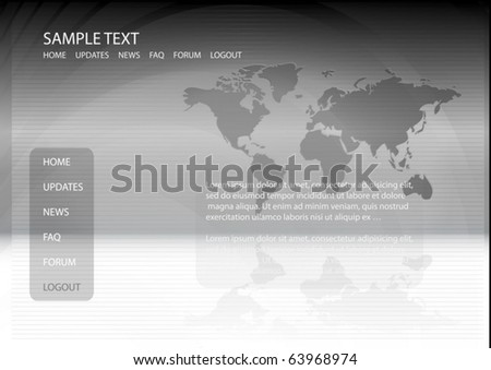 World map vector design template - Vector web news  layout background illustration